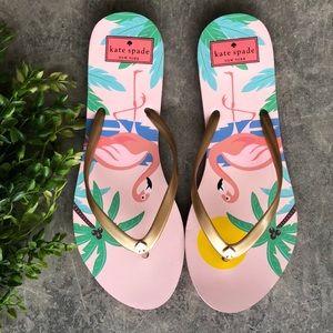 🆕Kate Spade Nassau Flamingo Flip-Flop Gold